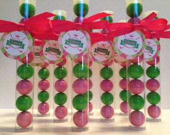 Golf Party Gumball tube party favors, princess, pink and Lime green, personalized, set of 12
