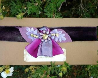 Blooming floral deep purple velvet choker
