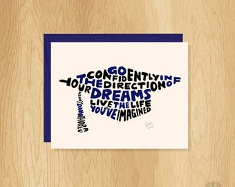 Hand Lettered Mortarboard Shape Graduation Card, Thoreau Quote Card, Grad Card, Congratulations Card