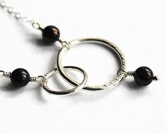 Silver Interlocking Circles Necklace, Black Freshwater Pearls, Fine Silver, Handmade