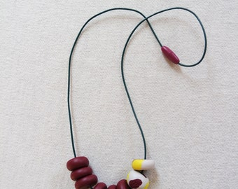 Handmade Polymer Clay Geometric Beaded Necklace Burgundy LIme