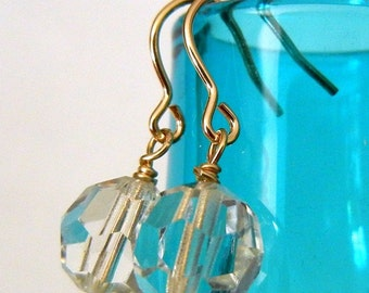 Gold, Crystal Earrings - SHIMMER Faceted Genuine Austrian Crystal Earrings, Gold-Filled Earwires