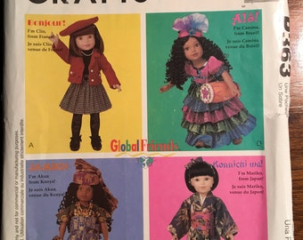 """DOLL CLOTHES Pattern - 14 - 18"""" doll  McCall's P363 / 9118 Global clothes - Outfits for France, Brazil, Kenya, Japan (Doll Dress)"""