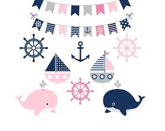 Girl nautical clipart, Sea party clipart, Navy pink nautical clipart, Summer kids party clipart, Pink grey nautical clip art, Pink whales