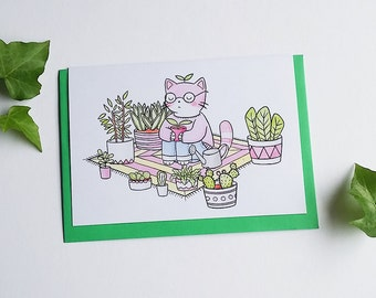 cacti meditation greeting card - cactus - kitty - cat - relaxation - blank cards - illustration - watercolour - plants - nature