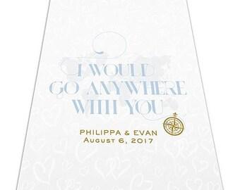 Vintage Travel Map Personalized Aisle Runner Wedding Ceremony Decoration