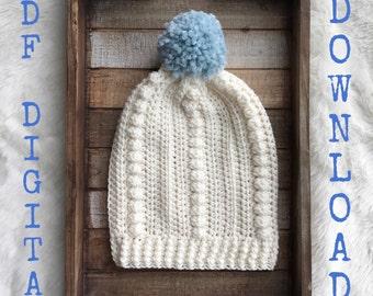 The Glacier Beanie PATTERN DOWNLOAD, Slouchy crochet beanie pattern, women's hat pattern, winter beanie with pompom, slouchy hat pompom
