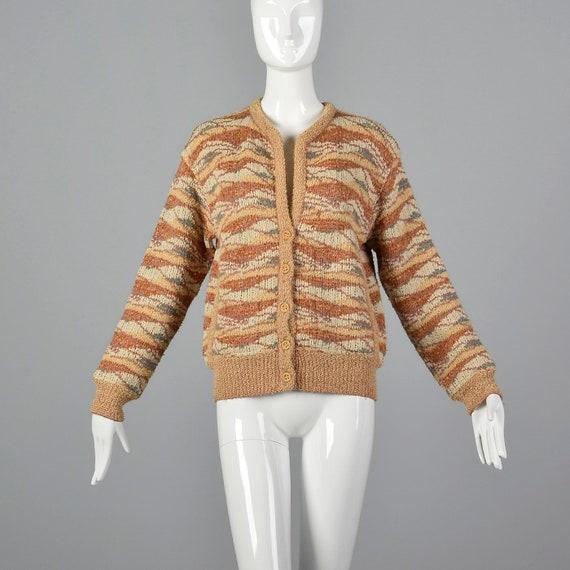 Cardigan 70s Bohemian Separates Vintage Knit Sweater Medium Long Missoni Cardigan Hippie Chunky Sleeve 1970s w746C7Yx