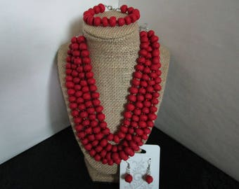 3 piece Red Beaded Necklace Set