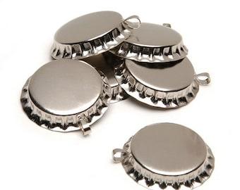 "6 Bottle Caps w/Loop Silver-Chrome 1"""
