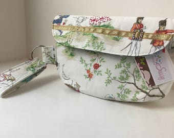 White Fairy Tale Fabric Wristlet, Fabric Wristlet, IPhone Wristlet, Zippered Wristlet, Cell Phone Wristlet, Emma Bag