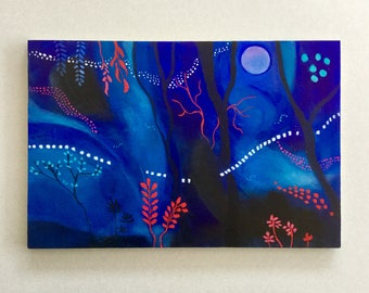 mystical forest, blue painting, abstract art, surreal landscape, small painting, acrylic art, woodland painting