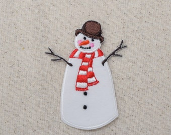 Winter Snowman with Brown Hat - Iron-on Applique - Embroidered Patch - 696507A