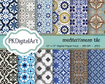 "Mediterranean Tile Digital Paper - ""Mediterranean Tile""  Scrapbook Paper Backgrounds Design Projects Crafting Supplies"
