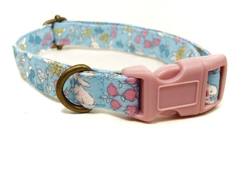 Bunny Hop - Light Blue Floral Flowers Bunny Bunnies Spring Easter Organic Cotton CAT Collar - All Antique Brass Hardware