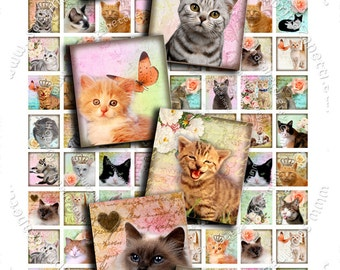 Digital collage sheet WONDER CAT'S scrabble .83x.75 - puppie kitten for pendant jewelry clipart magnet - instant download printable - sc102
