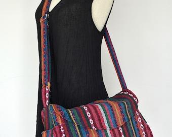 Women Hippie Messenger Bag Handbags Nepali Woven Bag Crossbody Bag Boho Bag Cotton Shoulder Bag Diaper Bag Women Purse (Susan)