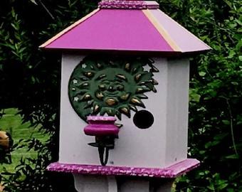 Bird House, Painted Bird House, One of a kind Birdhouse, Old man in the moon, Summer Garden Decor