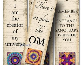 OM Bookmarks, ROCK STAR, Yoga Bookmark, Rectangle Image ,Printable Digital Images, Gift Tags, Yoga tag, Meditation, Printable Bookmark