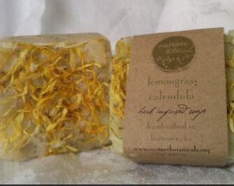 Lemongrass Calendula Soap, Vegan Handmade Soap with Essential Oils, Organic Herbs