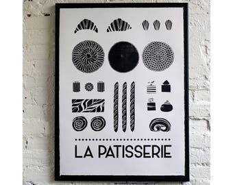 La Patisserie monochrome screen print