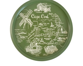Vintage State Tray, Cape Cod, Metal Tray, Round Tin Tay, Massachusetts, Map of Cape Cod, Vintage Bar Tray, Wall Art