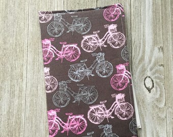 Invitation Holder, Campaign Tract Holder, Pouch Style in a Pink Bicycles Print - Ready to Ship