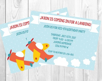 4 year old boy birthday /airplane party / Printable invitation invite / digital download / Little boy  / baby shower / plane