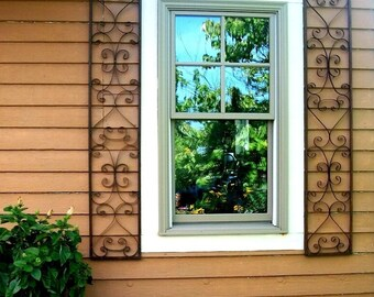 New Orleans Exterior Wrought Iron Window Shutters - Metal Wall Art For Outdoors or Use As Oblong Home Decor