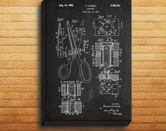 CANVAS - Scissors Art, Scissors Print, Scissors Poster, Scissors Patent, Scissors Decor, Scissors Wall Scissors Art, Scissors Blueprint