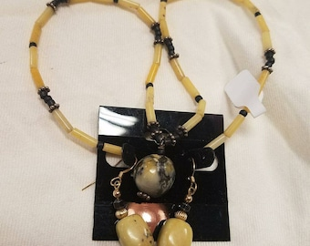 Bamboo/Marble Necklace/Earring Set