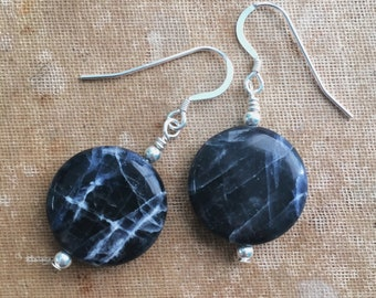 Sodalite and Sterling Silver Dangle Drop Earrings