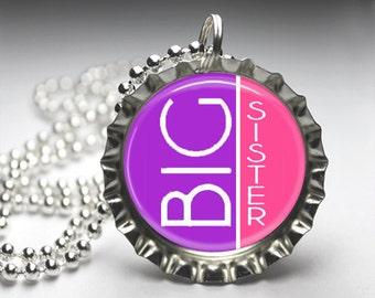 Big Little Sister Bottlecap Necklace - Bottelcap Pendant Necklace Jewelry - Free Ball Chain