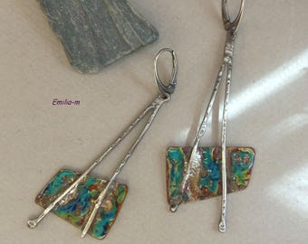 SALES - Poetic Raw Sterling silver earrings and Torch fired enamel on copper - Artisan Jewelry by Emilia-M