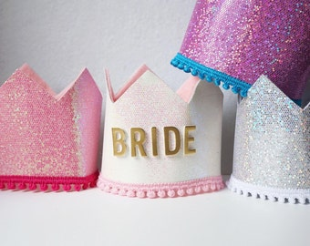 Large Bride Crown, Bachelorette Crown, Wedding Accessories, Bride to Be Crown, Bridal Shower Gift, Bridal Shower Crown, Bridesmaid Gift