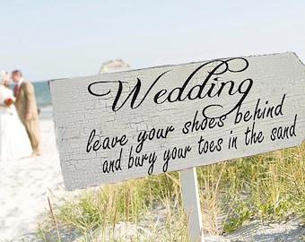 Wedding Signs BEACH WEDDING 24x10 with FREE stake