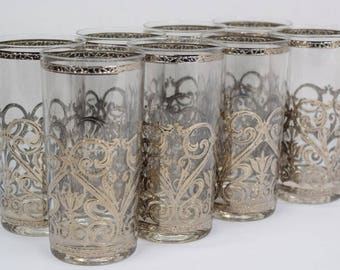 Vintage 1950's 60's MCM Set of 8 Culver Silver Scrolls & Band Cuv61 Highball Tumblers Glasses