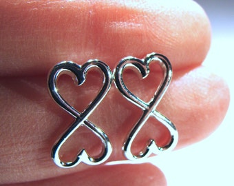 Infinite Heart Studs Infinity Sterling Silver Studs Infinity Post Earrings Stud Earrings Valentine Jewelry Gift Valentine's Day