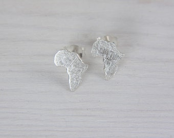 Africa Earrings Sterling Silver Studs Africa Map Earrings