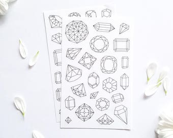 Gems Coloring Planner Stickers, Bullet Journal Stickers, Gem Coloring Stickers, Gem Planner Stickers, Gem Stickers to Color In Planner