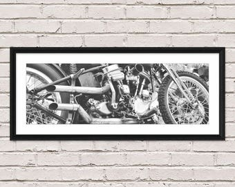 Harley Davidson Gift, Harley Davidson, Harley Davison Art, Panorama Print, Man Cave Decor, Motorcyle Art, Harley Poster, Gift for Boyfriend