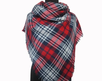 Blanket Scarf, Red Plaid Scarf, Checkered Shawl, Christmas Gifts for Mom, Autumn Scarf, Red Wrap Shawl, Plaid Fall Scarf