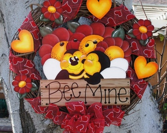 Valentine Wood and Grapevine Wreath - Door or Wall Hanging  - Valentine Decoration