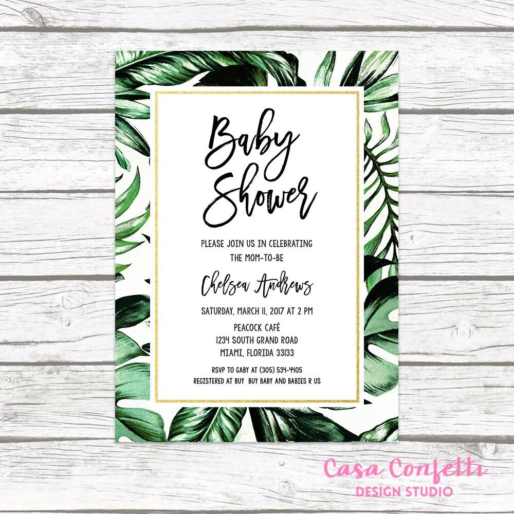 Tropical Baby Shower Invitation, Tropical Invitation, Palm Tree Leaf ...