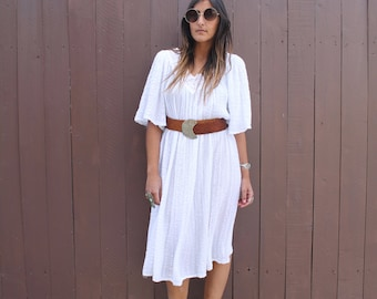 Vintage 80s White GAUZY COTTON Tent Dress with Flutter Sleeves