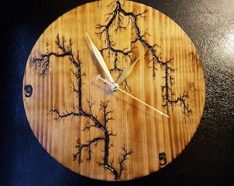 Lichtenberg Wall Clock, Wooden Clock, 5th Anniversary Gift, Living Room Clock, Office Clock, Rustic Clock, Wall Clock, 1st Anniversary Gift