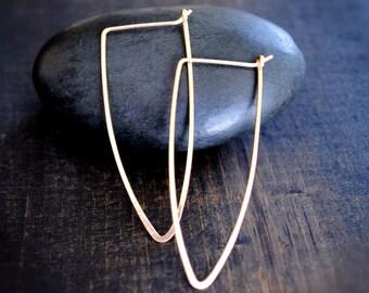 Gold Hoop Earrings - Thin Hoop Earrings - Minimalist Earrings - Dainty Earrings - Handmade Jewelry - Dagger Hoops