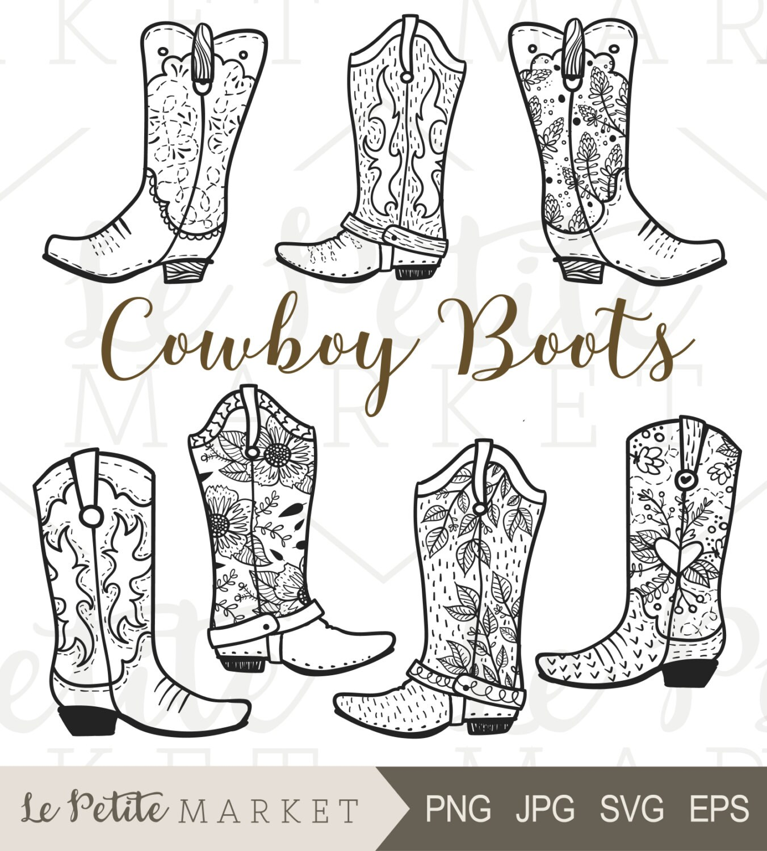 cowboy boot clip art hand drawn cowboy boots cowgirl boots rh etsy com free clipart of cowboy boots clipart girl cowboy boots