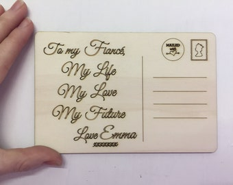 Fiance Valentine Card, Fiance personalised Card, Fiance wooden postcard