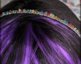 rainbow crystal headband